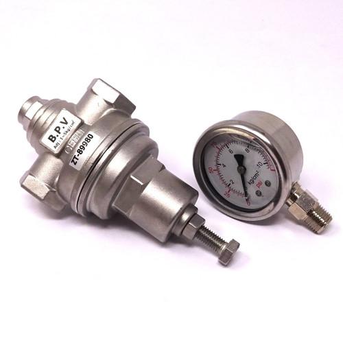 "Back Pressure Regulator And Gauge ZT-89980 Viton 1/2"""