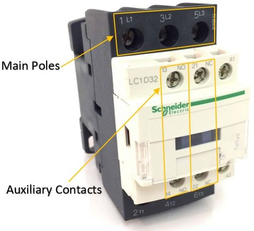 Picture made by Axxa: Schneider contactor main poles and auxiliary contacts
