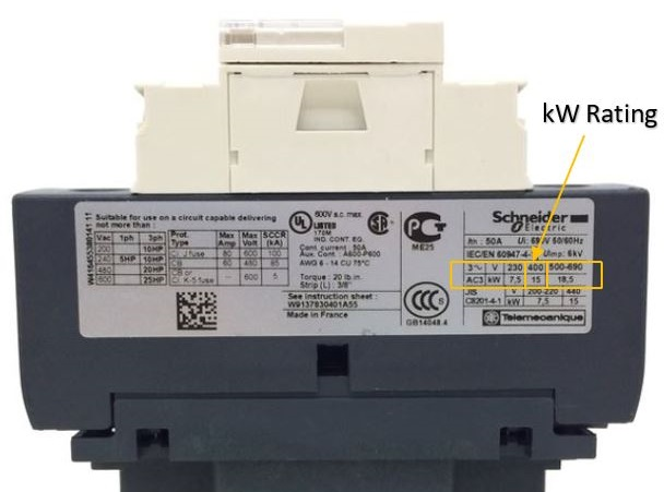 Picture made by Axxa: Schneider contactor Where to find kW rating