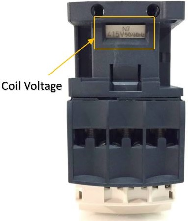 Picture made by Axxa: Schneider contactor Where to find coil voltage