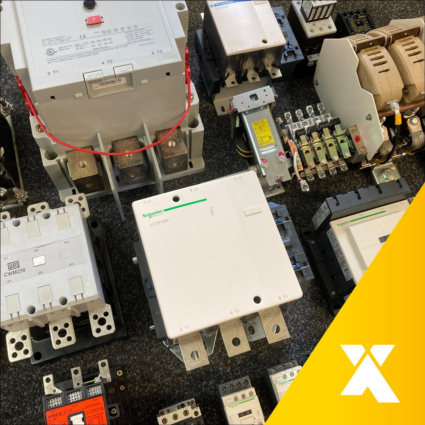Picture taken by Axxa: Contactor group aligned different brands for cross reference