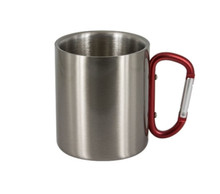 Stainless Steel Outdoor Travel Mug with Carabiner Red Handle