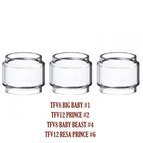 SMOK TFV8 Baby Beast/Big Baby/TFV12 King/Resa Prince/Baby V2/Stick V9 Max/X-Baby/TFV16 Bulb Glass Tube (#1, #2, #3, #4, #6, #7, #8, #9)
