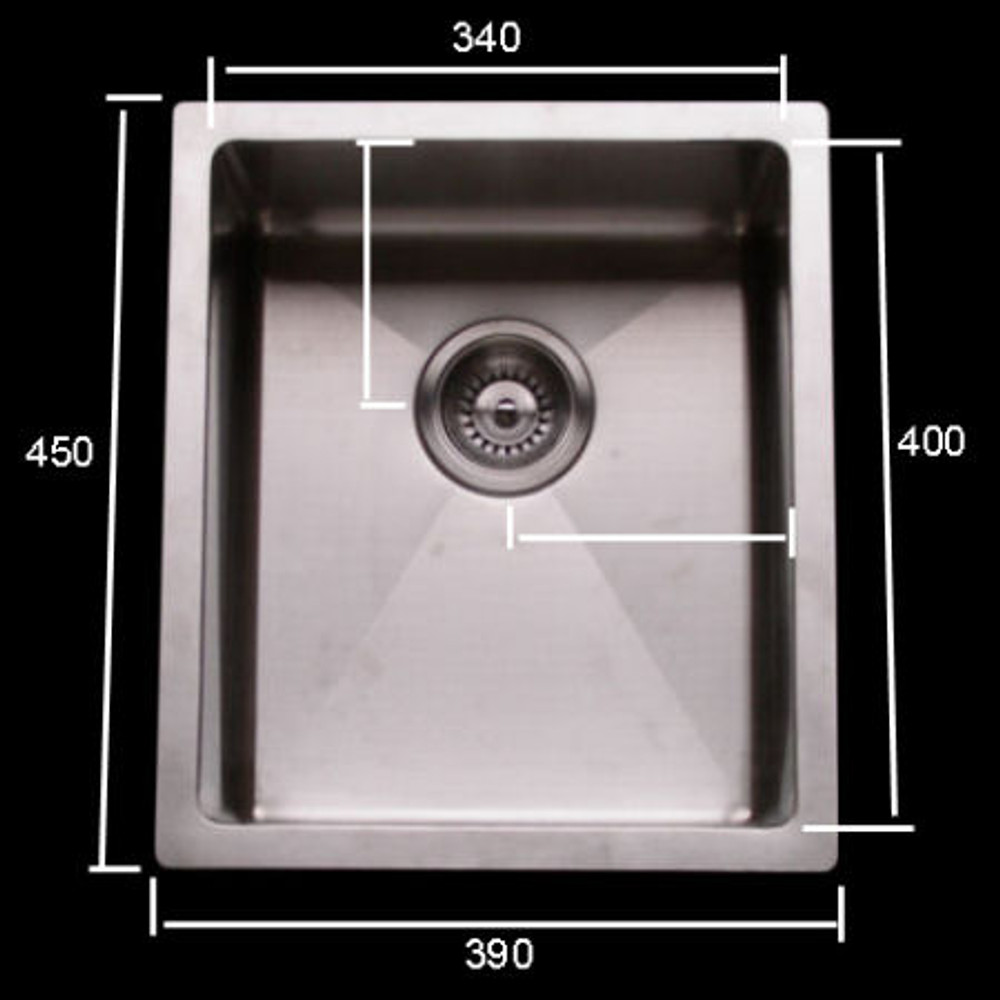 Cube Square Single 340 Sink with Round Corner