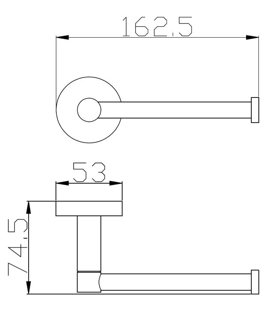 Matt Black Lollypop Toilet Paper Holder - Horizontal