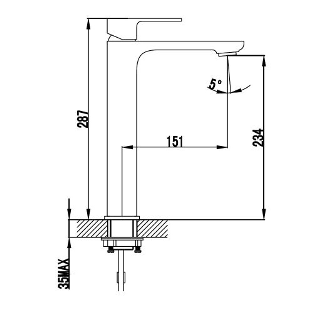 ikon SETO Basin Tower Mixer Tap - Matt Black