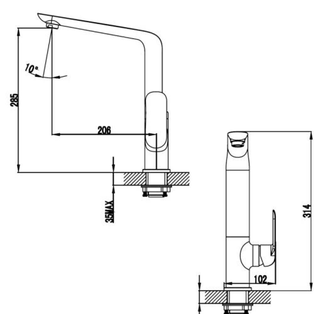 ikon KARA Kitchen Sink Mixer Tap - Black & Rose Gold
