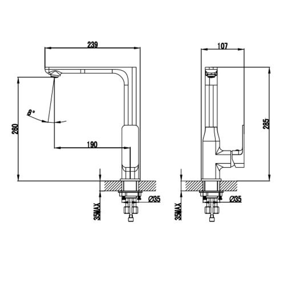 ikon SETO Kitchen Sink Mixer Tap - Black & Rose Gold