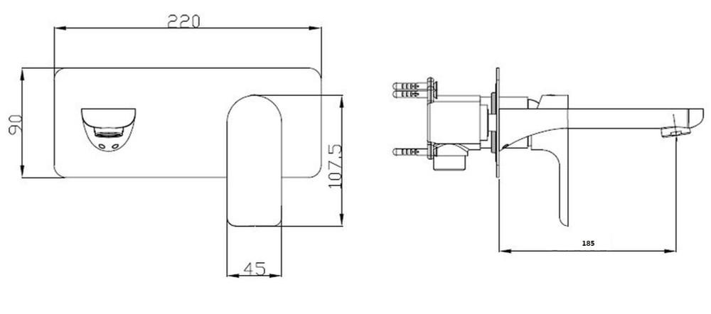 Normandy ETHAN Wall Mixer and Spout Combination Unit - Matt Black