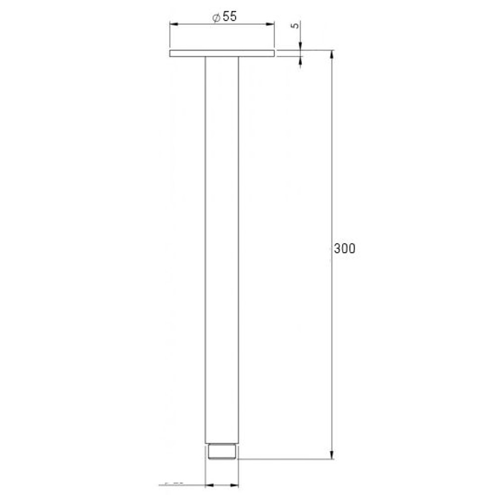 BRASS SQUARE CEILING ARM L 300mm  400mm -  Matt Black