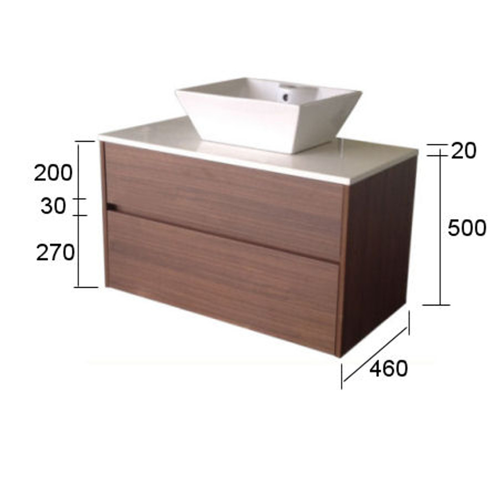 Chiron FIVE Vanity 750mm Wall Mounted - Stone Bench & Inset Basin HA