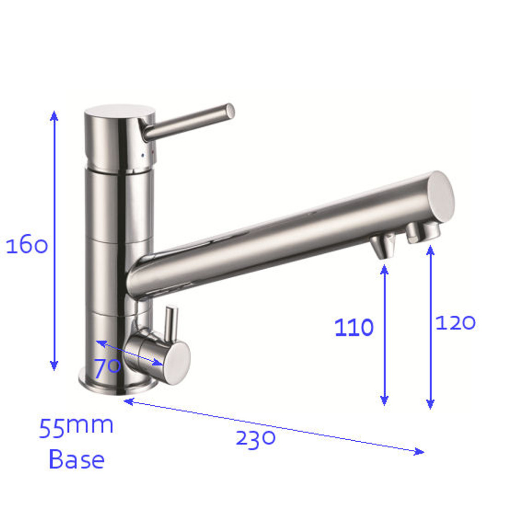 Lollypop Basic Three Way Kitchen Mixer Tap - Hot+Cold+Filtered