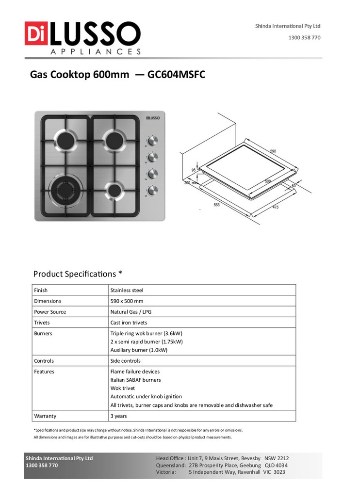 Dilusso GAS COOKTOP - 600MM SS CAST IRON TRIVETS