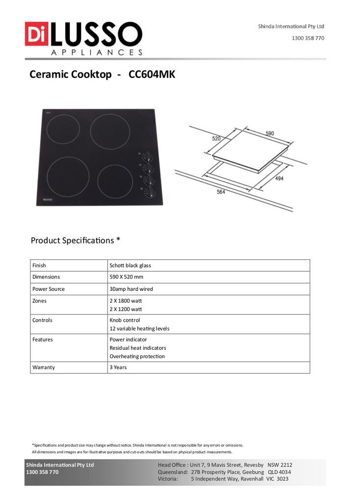Dilusso CERAMIC COOKTOP - 600MM KNOB CONTROL
