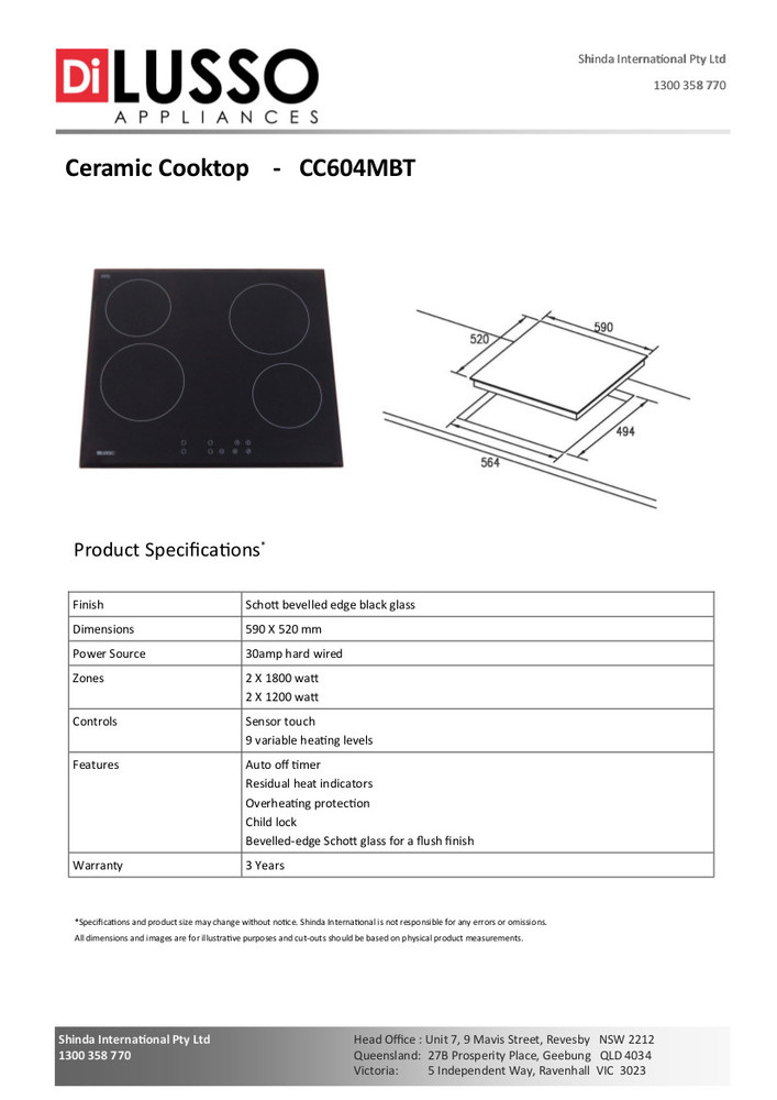 Dilusso CERAMIC COOKTOP - 600MM TOUCH CONTROL