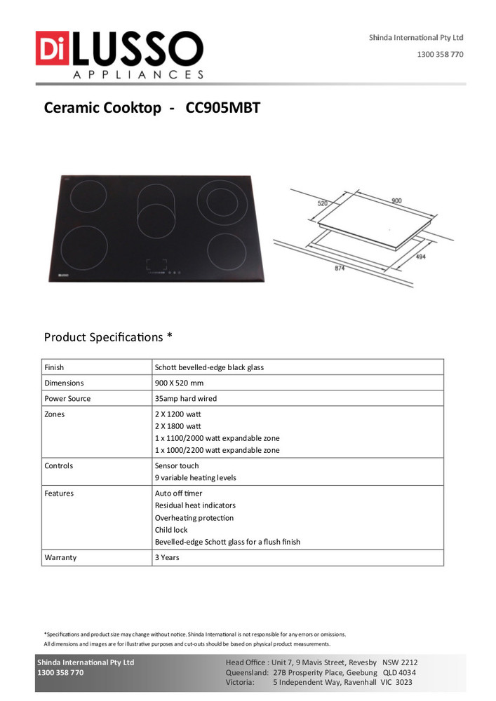 Dilusso CERAMIC COOKTOP - 900MM TOUCH CONTROL