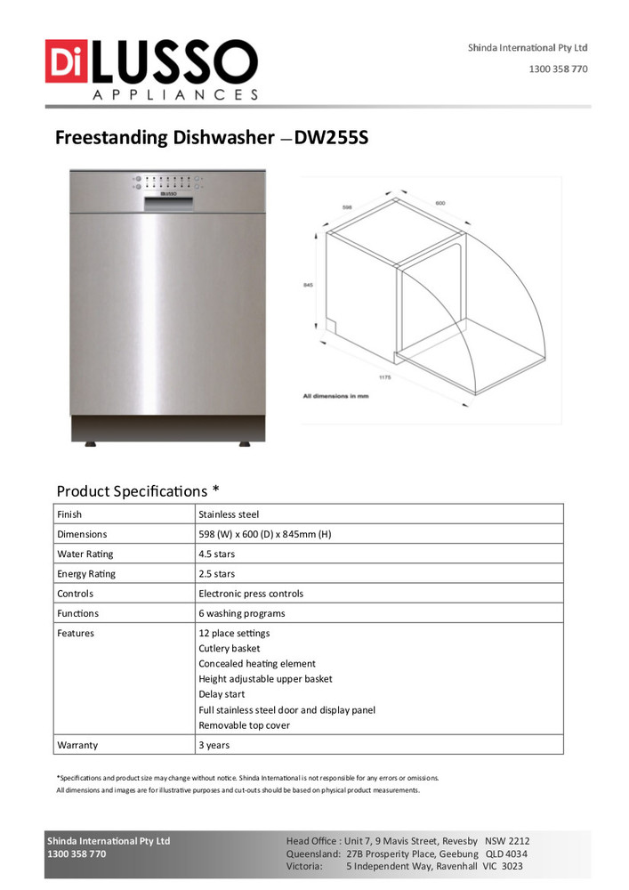 Dilusso FREESTANDING DISHWASHER - 600MM 12 PLACE SETTINGS