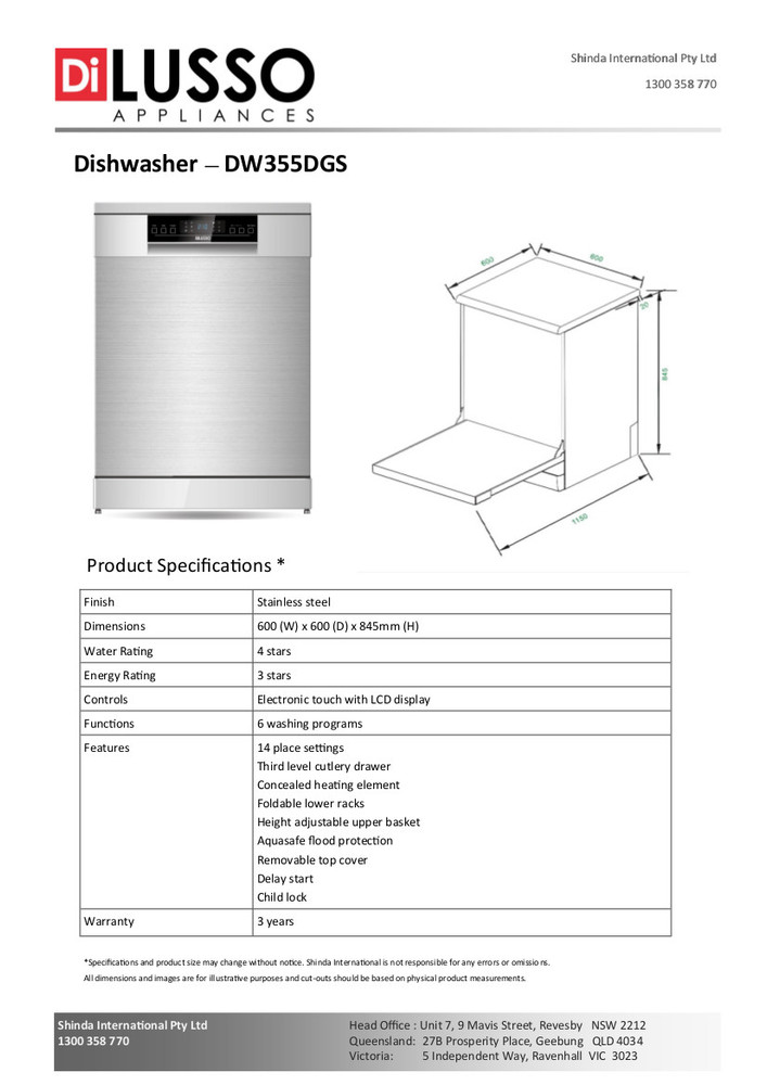 Dilusso FREESTANDING DISHWASHER - 600MM 14 PLACE SETTINGS