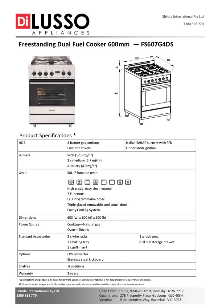 Dilusso FREESTANDING DUAL FUEL COOKER - 600MM