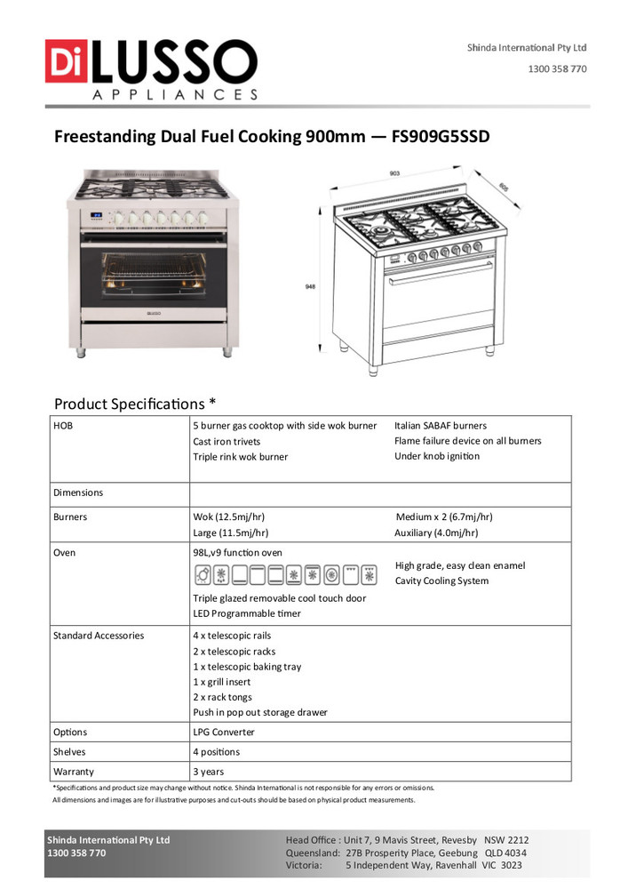 Dilusso FREESTANDING DUAL FUEL COOKER - 900MM PRESTIGE SIDE WORK