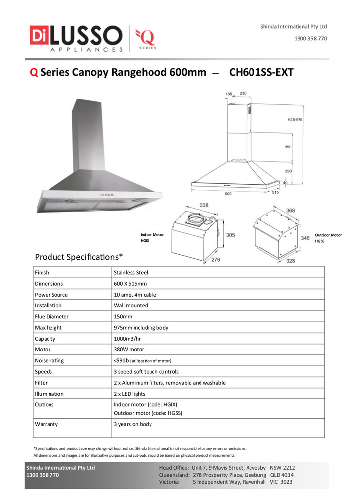 Dilusso SS CANOPY RANGEHOOD - 600MM Option External Motor