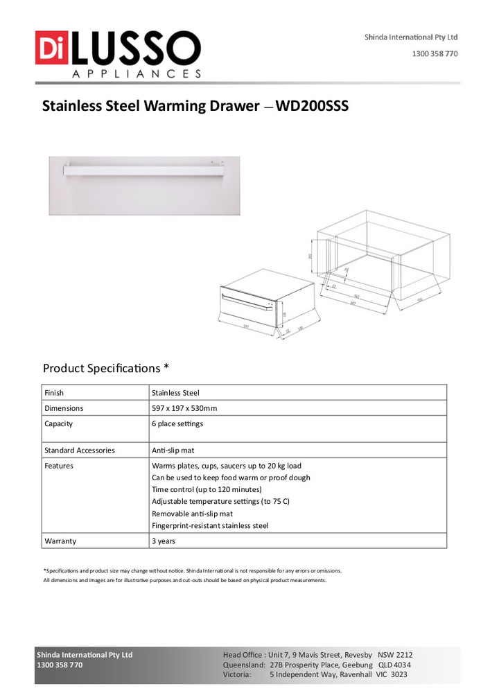 Dilusso STAINLESS STEEL WARMING DRAWER