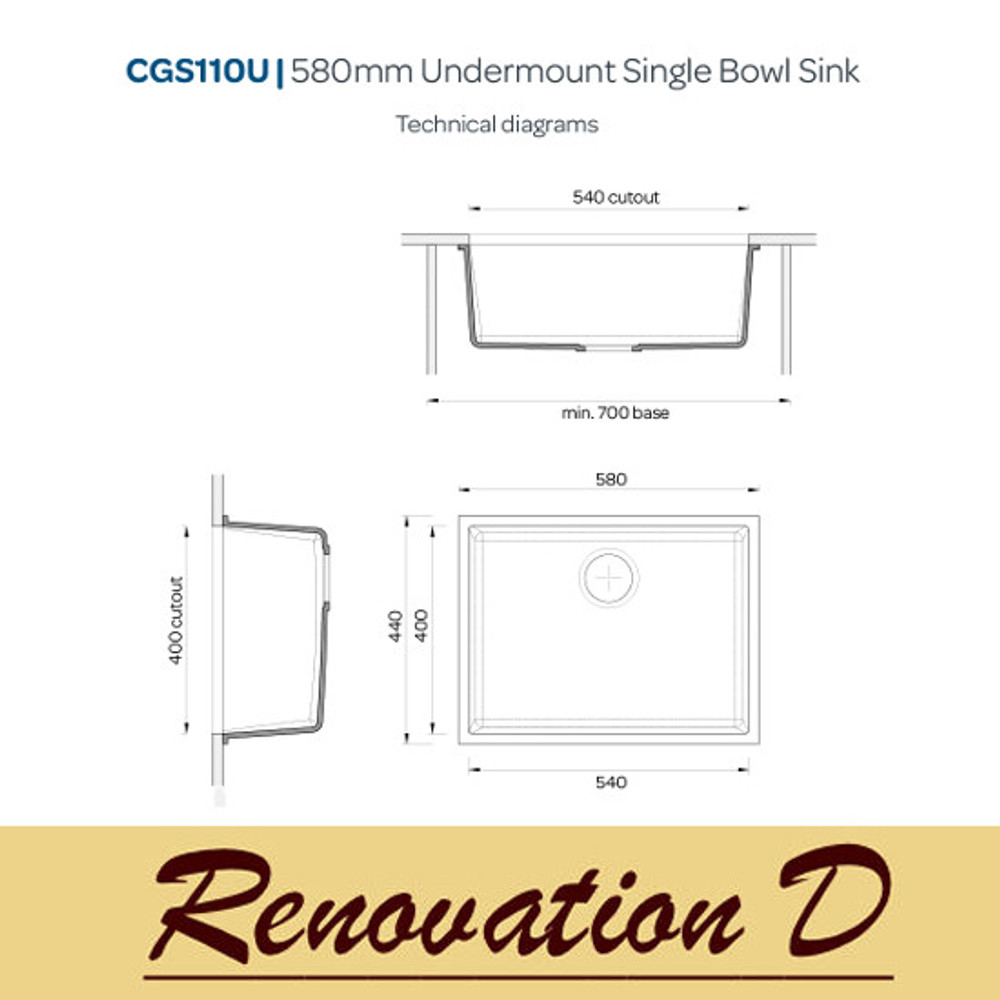 Cino Puro CGS 110U 585 MM Undermount Single Bowl Granite Sink BLack Grey White