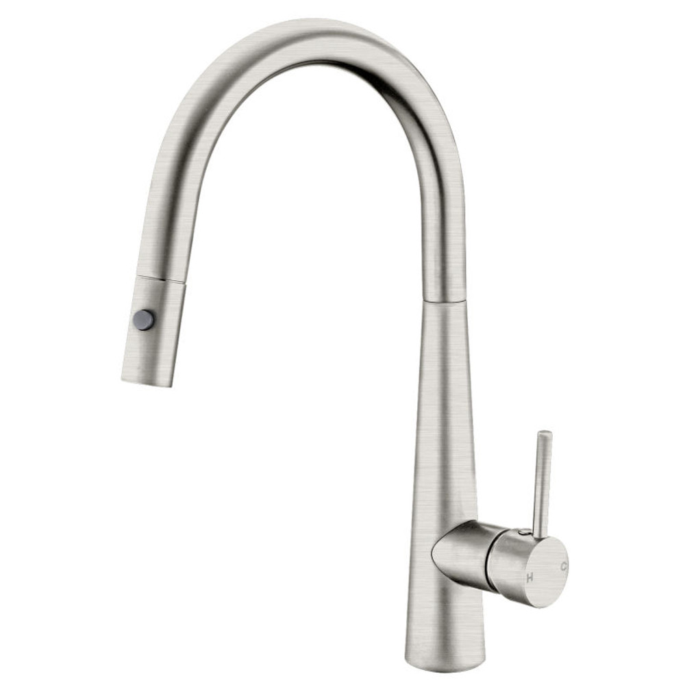 NERO Bling Brushed Nickel Satin Pull Out Kitchen Mixer Tap