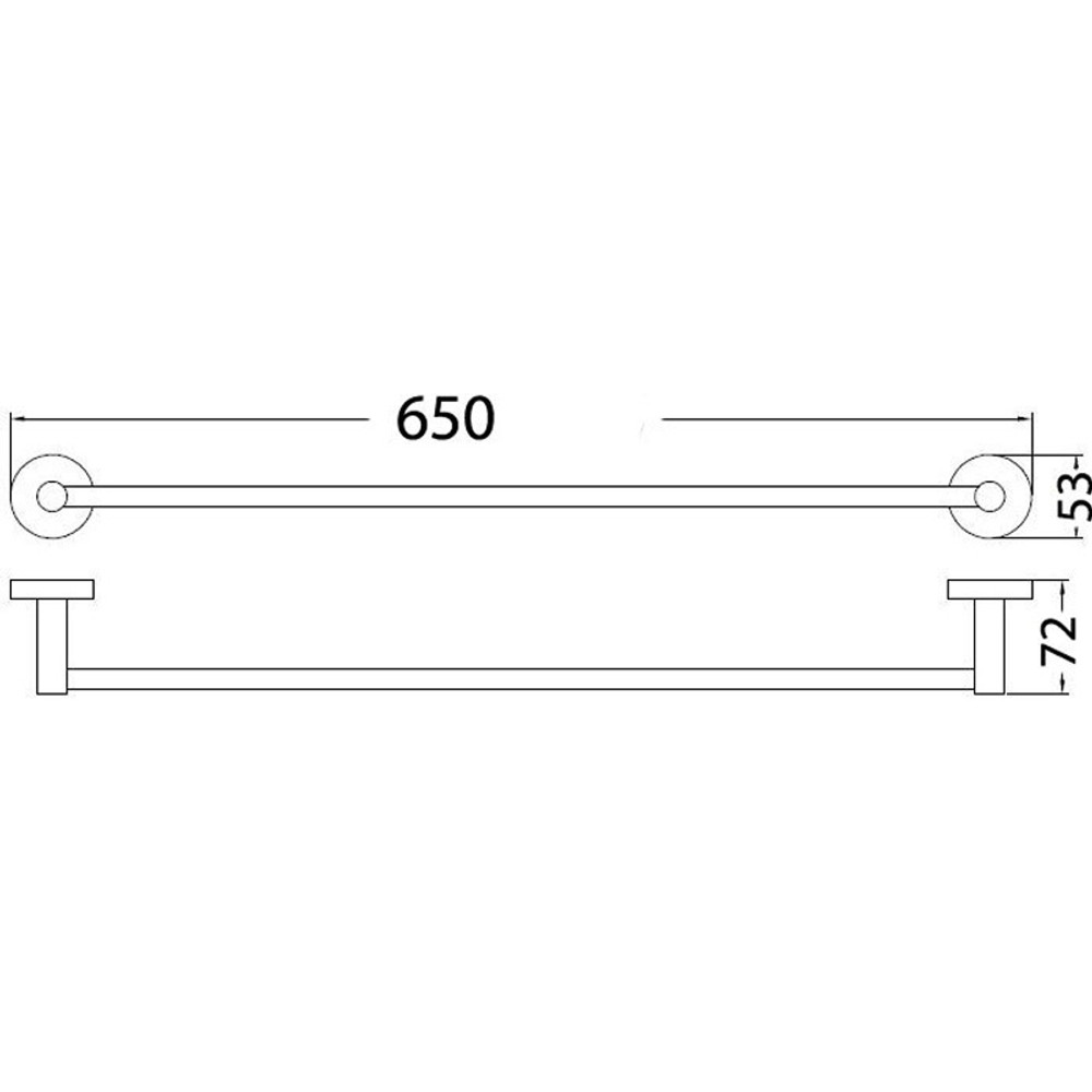 Brushed Nickel Satin Lollypop 650mm 800mm Single Towel Rail