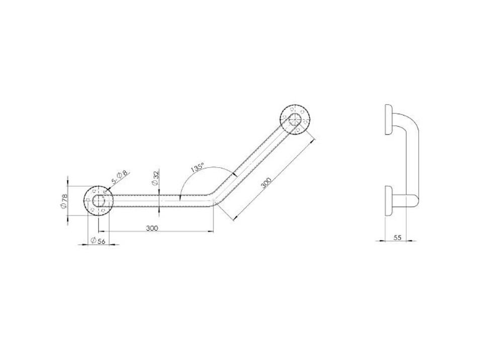 Linkware 135 Degree Handrail Grab Rail