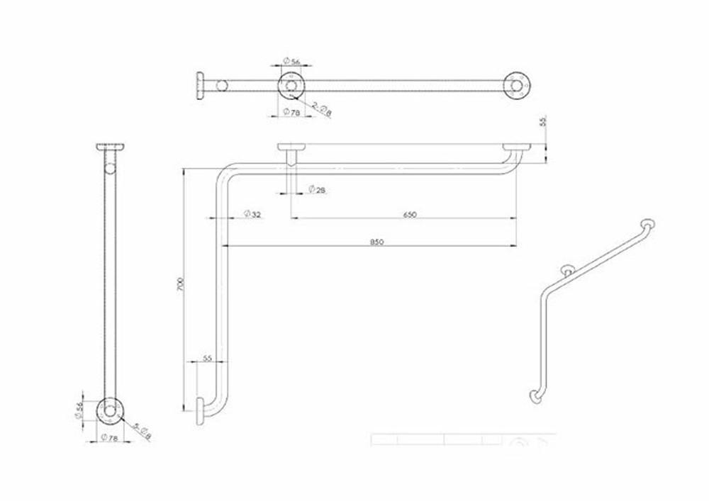 Linkware Corner Rail Handrail Grab Rail