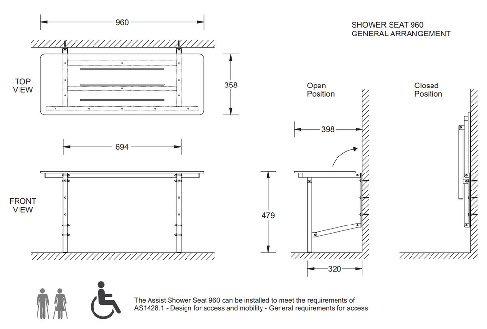 AGE CARE DISABLE WALL FIXED ASSIST SHOWER SEAT 600 960