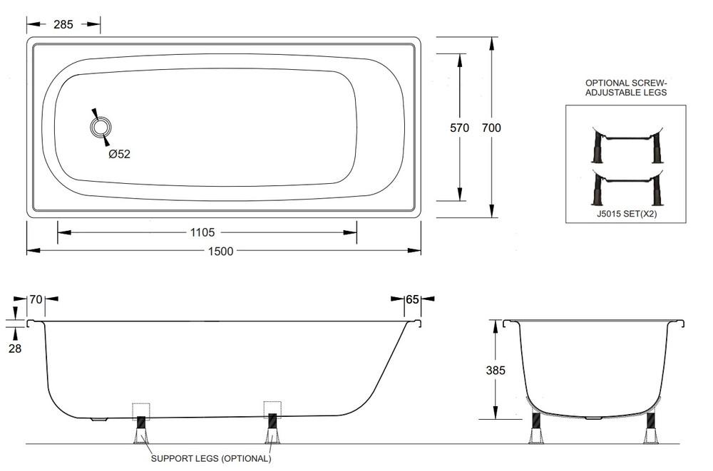 METAL STEEL ENAMEL BATHS 1500 OR  1700