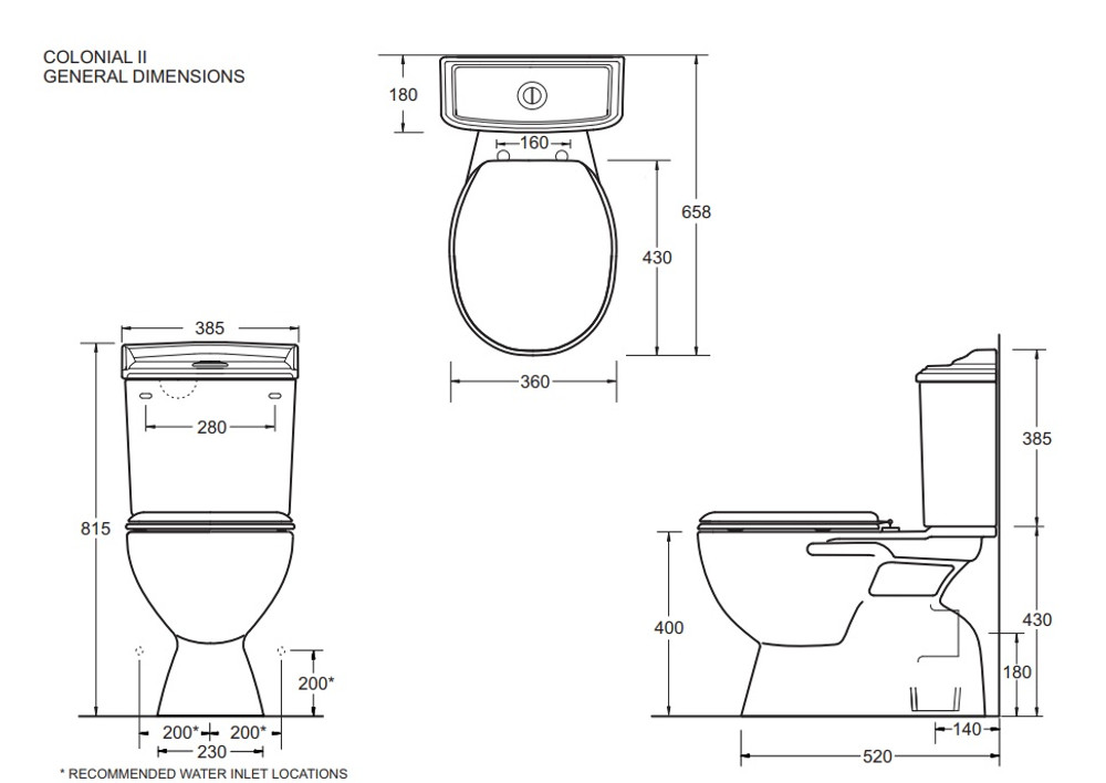 COLONIAL CLOSE COUPLED TOILET SUITE