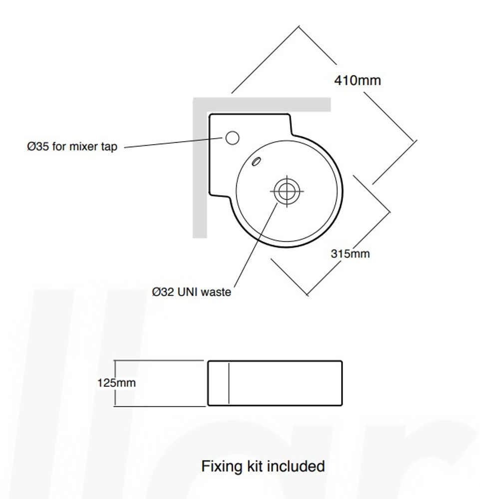 Corner Wall Hung Basin XL4296