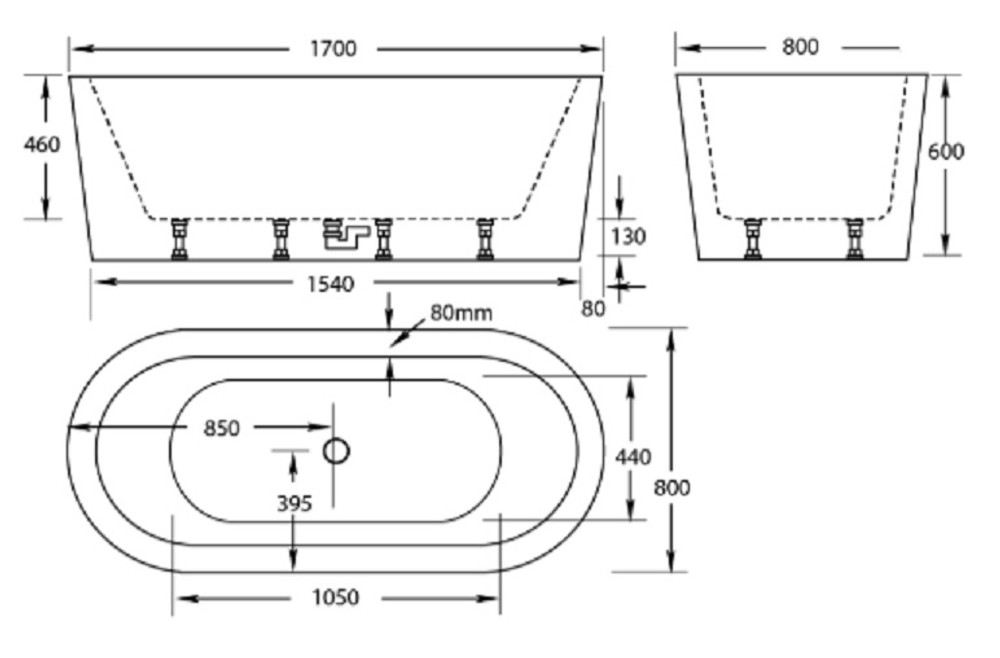 Normandy Oval Freestanding Bath Tub 1500 & 1700mm