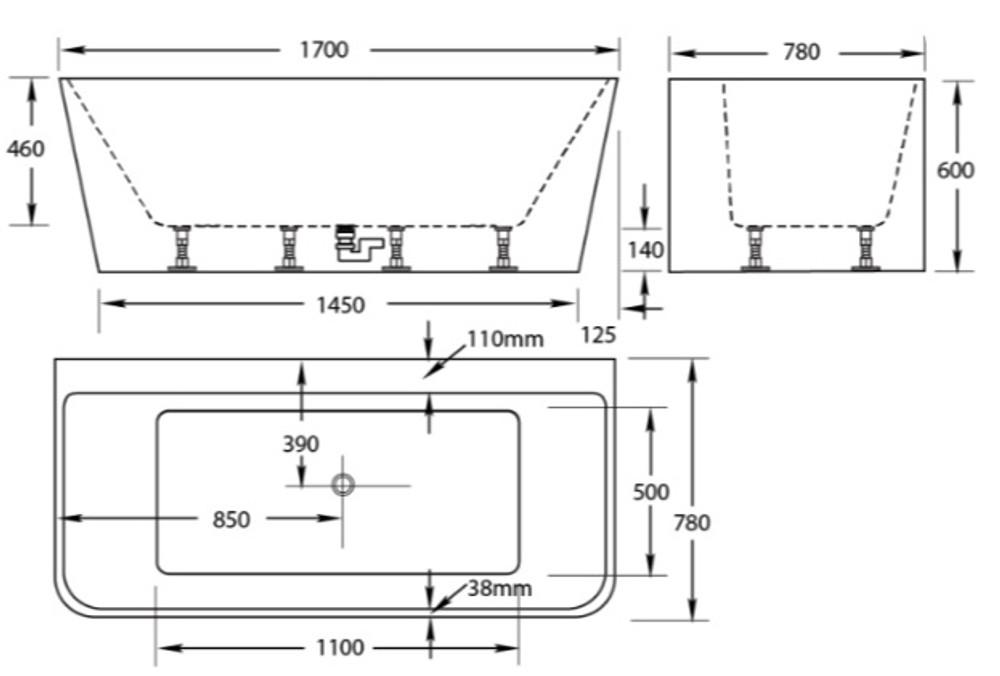 Normandy 165 Freestanding Bath Tub 1500 & 1700mm
