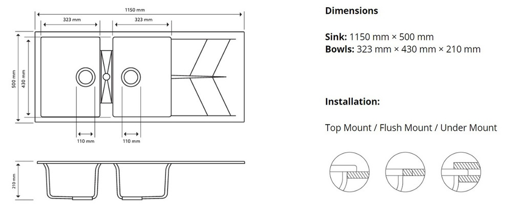 CARYSIL JAZZ D200 DOUBLE BOWL WITH DRAINER GRANITE KITCHEN SINK 1150MM X 500 MM X 210MM