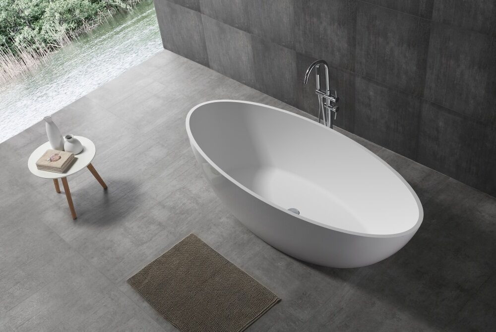 ... Normandy 8803 Solid Surface Stone Oval Freestanding Bathtub   1800  White Black ...