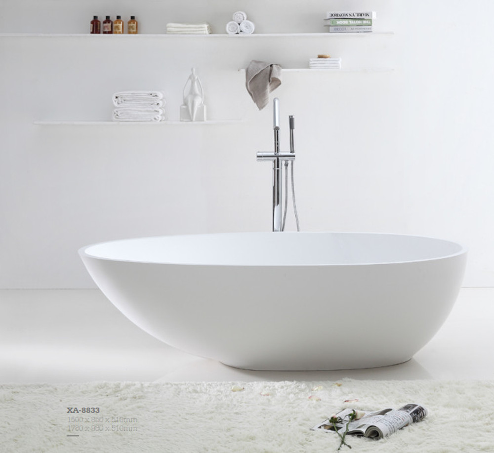 Normandy 8833 Solid Surface Stone Oval Freestanding Bathtub - 1500 1780 White Black
