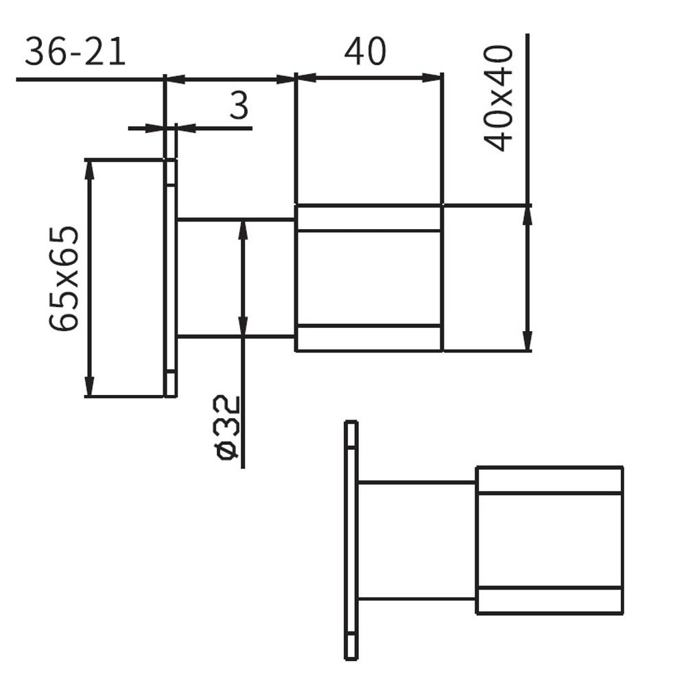 Elegant Square Wall Top Tap Set - Matt Black