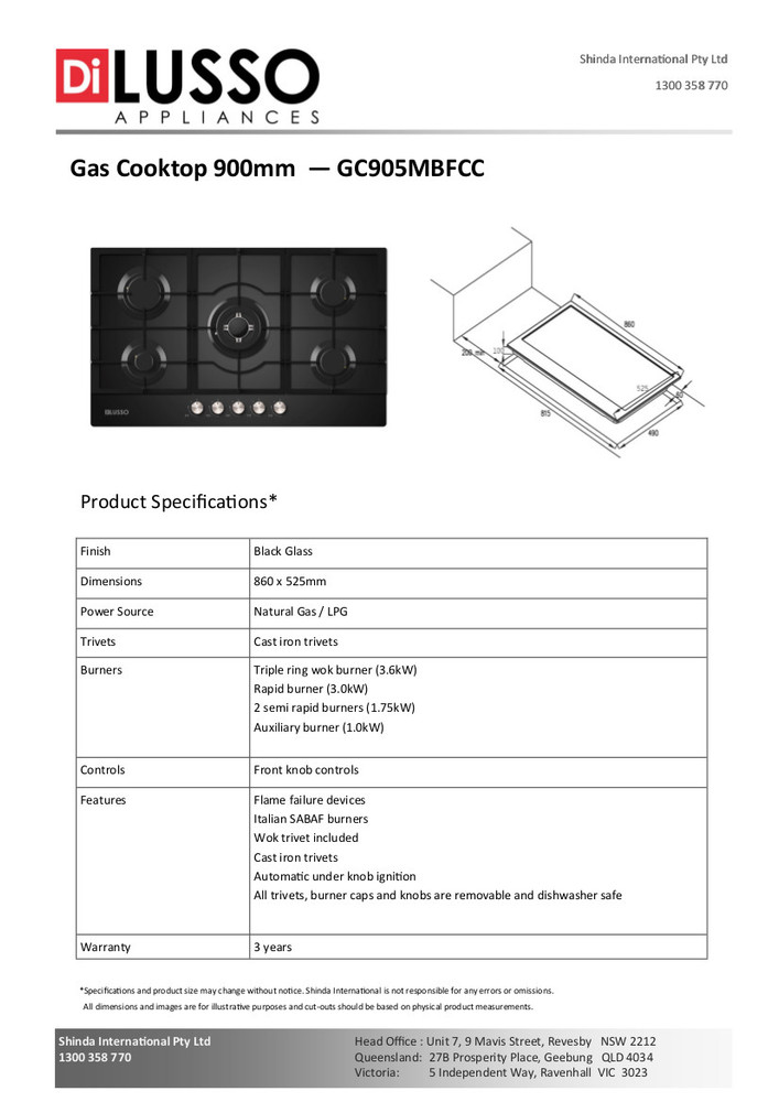 Dilusso GAS COOKTOP - 900MM BLACK GLASS
