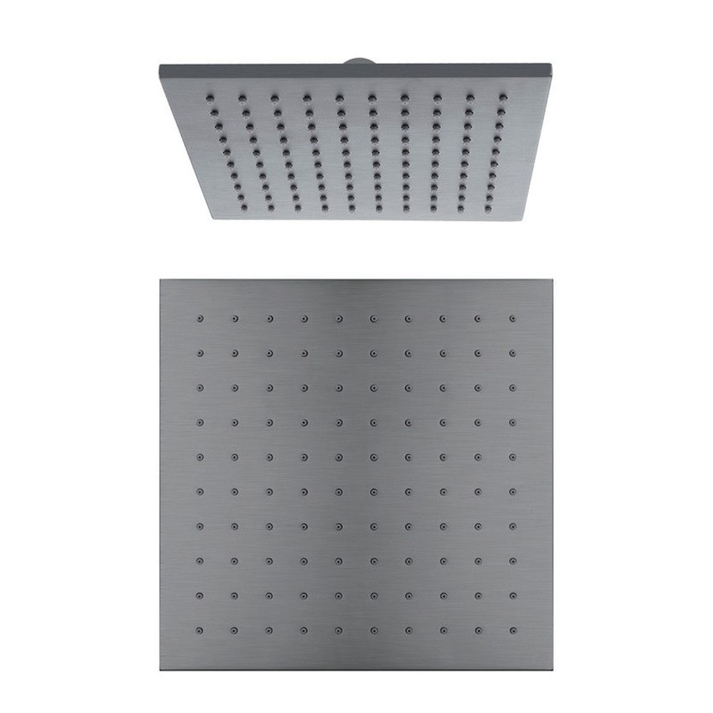 Normandy Ultra Thin Gun Metal Grey Square Rain Shower Head 250mm