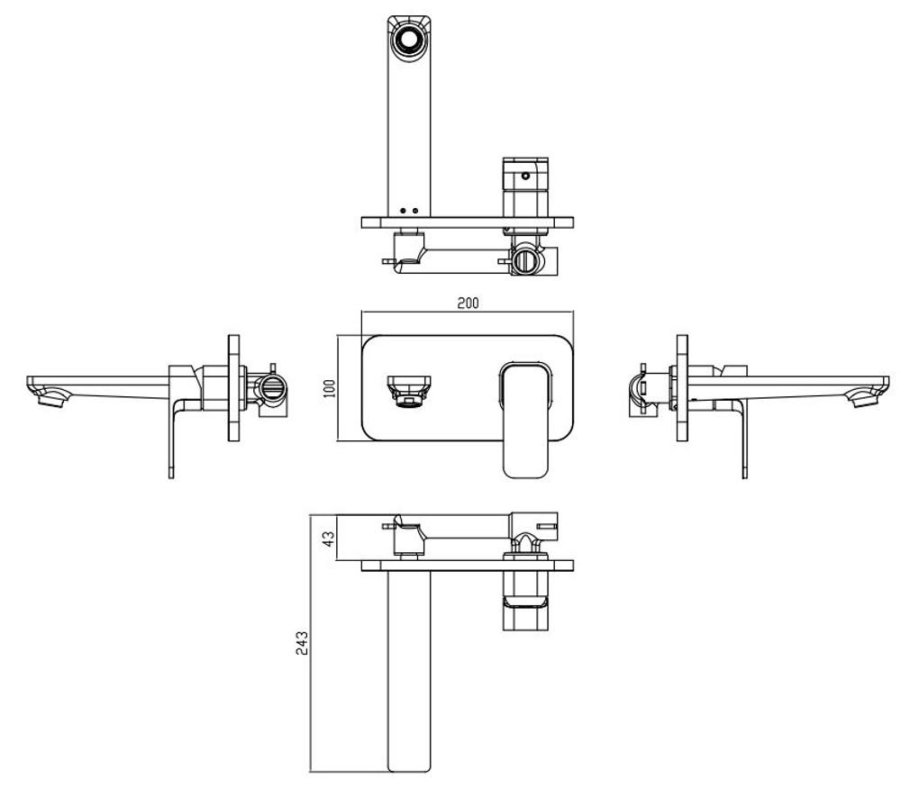 ikon SETO Wall Mixer and Spout Combination Unit