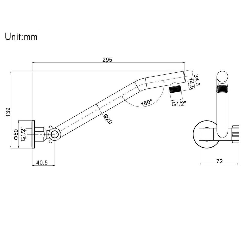BRASS ADJUSTABLE ROUND SHOWER ARM
