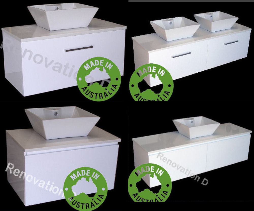 Monaco Vanity with Stone Top & Bench-top Basin - Size: 600 750 900 1200 1500 & 1800mm