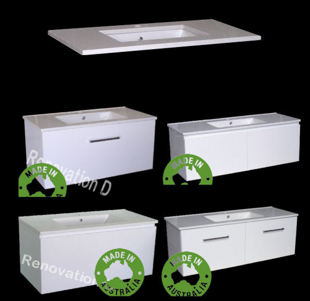 Monaco Vanity with Stone Top & Under-Mount Basin - Size: 600 750 900 1200 1500 & 1800mm