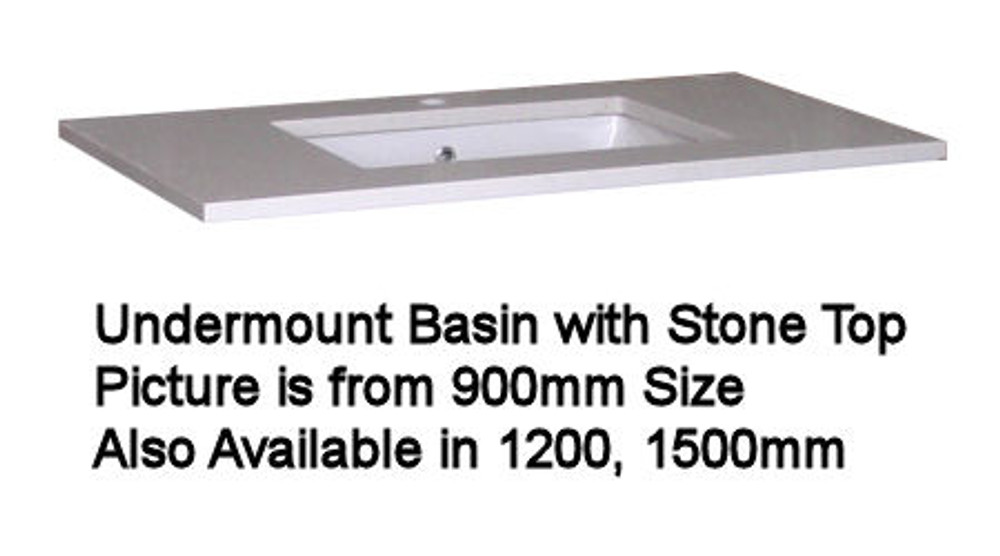 Blitz Vanity with Stone Top & Under-Mount Basin - Size: 600 750 900 1200 1500 & 1800mm
