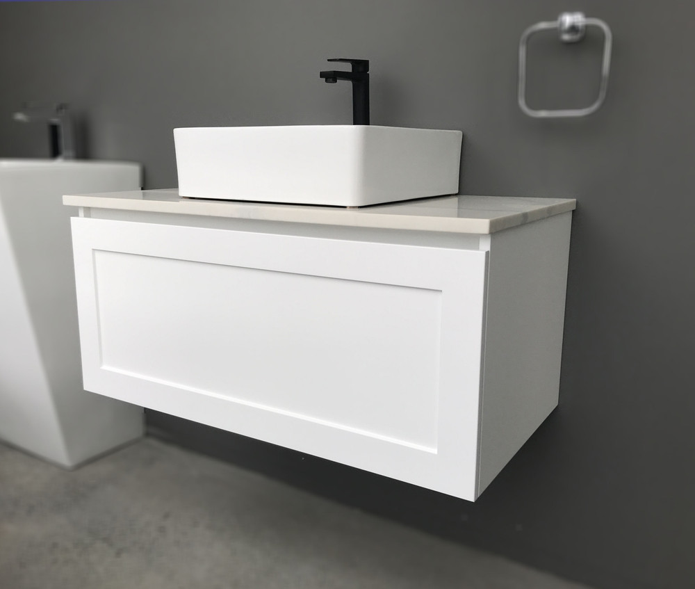 England Shaker Hampton Style Vanity with Stone Top & Bench-top Basin - Size: 600 750 900 1200 1500 & 1800mm