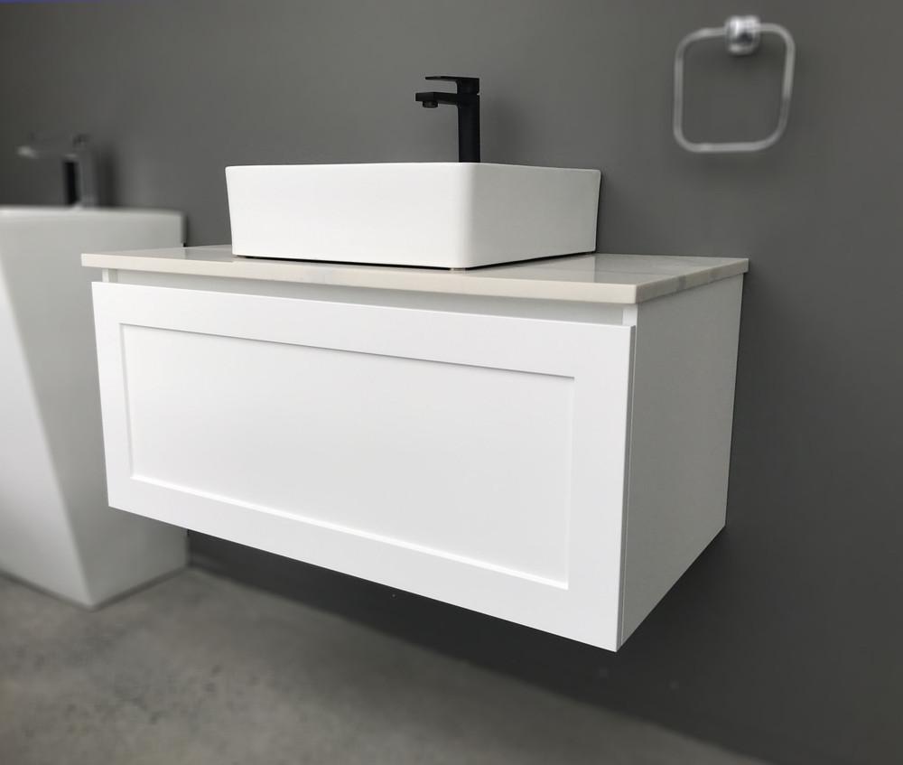 England Shaker Hampton Style 900 mm Vanity with Stone Top & Bench-top Basin